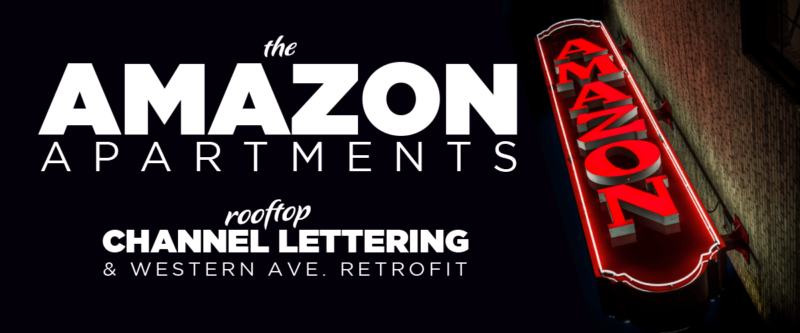 Led and Neon Amazon Apartments Sign