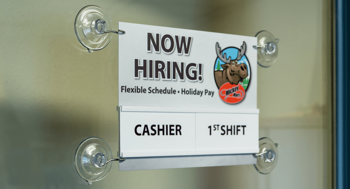 Interchangeable Now Hiring Window Sign