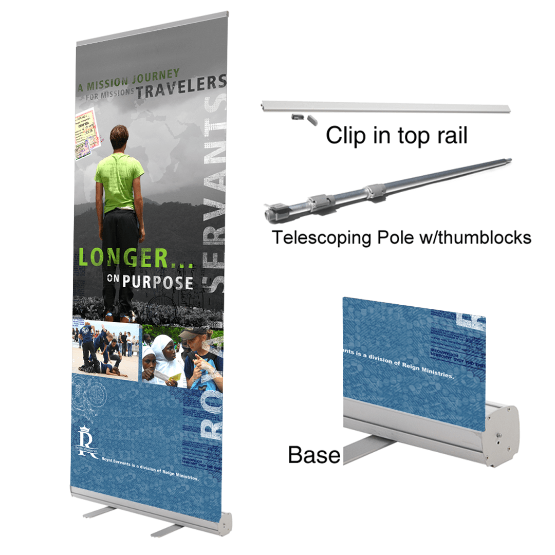 Retractable Banner Stand w Reign Ministries Banner