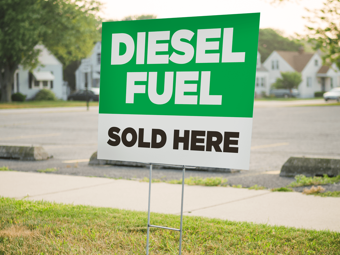 Diesel Fuel Sold Here Yard Sign