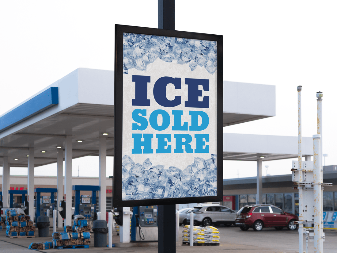 Ice Sold Here Post Mount Frame