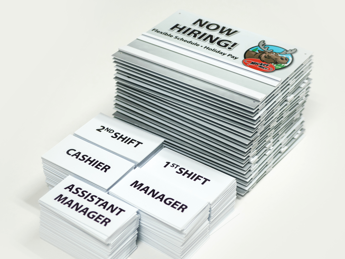 Mickey Mart Now Hiring Changeable Signage