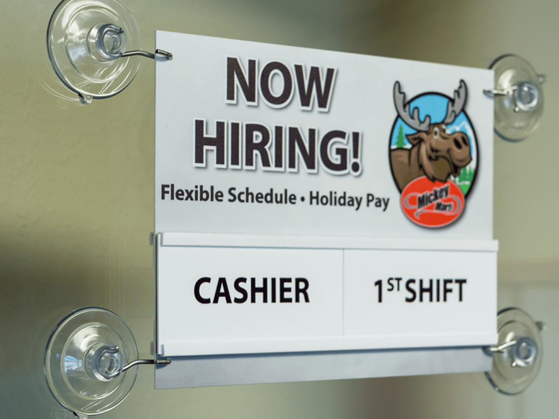 Mickey Mart Now Hiring Sign