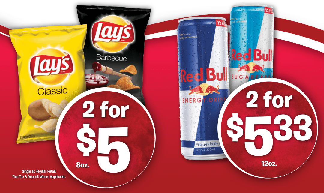 Red Bull and Lays Chips on Sale