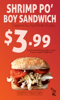 Shrimp Po' Boy Sandwich Sign