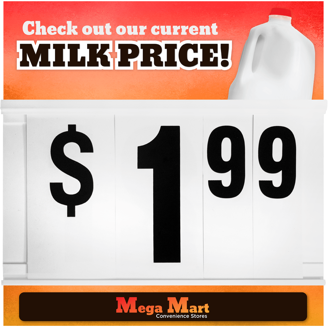 Milk Gallon Changeable Price Sign