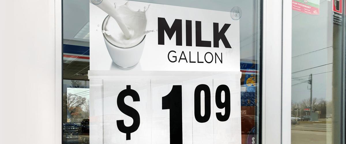 Milk Gallon Changeable Price Sign on Window