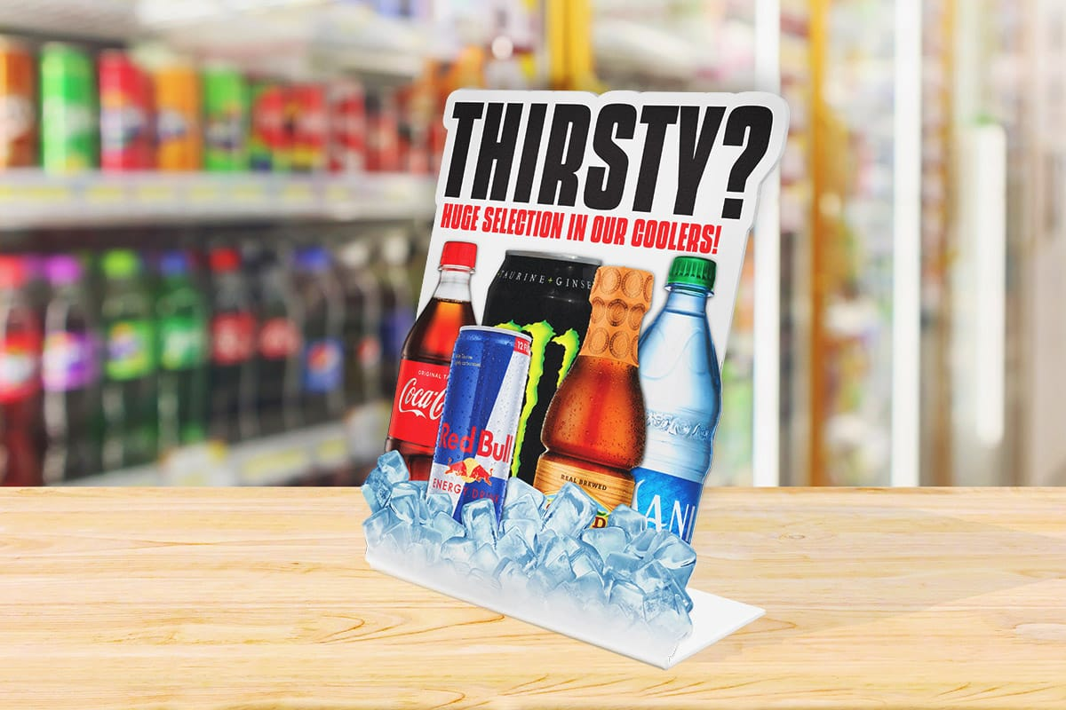 Cold Drinks in Coolers Counter Easel